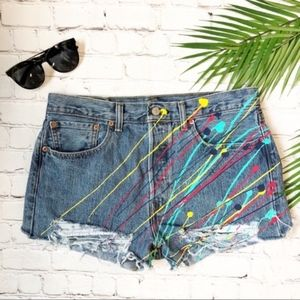 Levi's Ripped Denim Shorts Costume Size W33